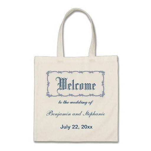 Wedding Welcome Bags Nautical Design#wedding#nautical#personalize#customize#blue