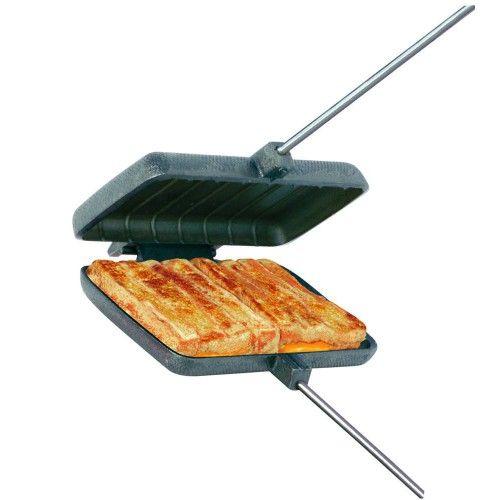 Kampvuur-tosti-ijzer gietijzer dubbel