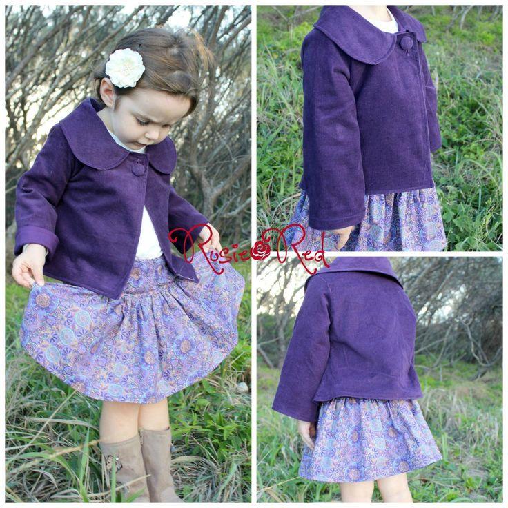 $92.00 Purple corduroy jacket and Twirly skirt set Size 6 by RosieRed on Handmade Australia