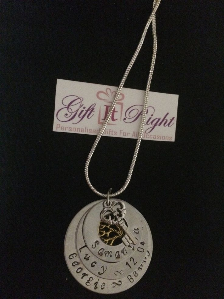 Triple Family tree and key Pendant Personalised Hand Stamped Necklace by Giftitright on Etsy