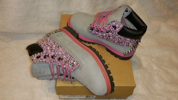 custom pink  u0026 gray pearl timberland boots preschool girl u0026 39 s size 12