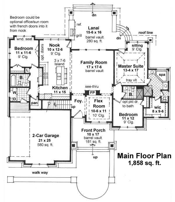 1270 best images about floor plans on pinterest luxury house plans 3 car garage and craftsman - House plans with bonus rooms upstairs ...