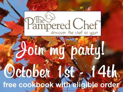 You are invited to my Pampered Chef Party – Pick a FREE cookbook! | Nourishing Treasures