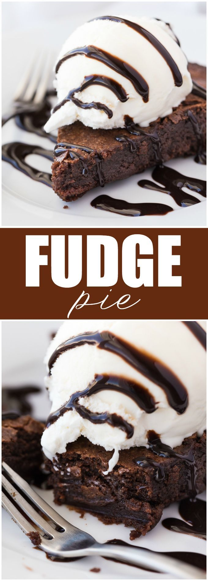 Fudge Pie - Each bite is sweet, chewy and full of luscious chocolate flavour. Serve each piece with some vanilla ice cream and chocolate sauce for a special dessert.