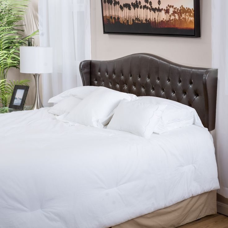 Gibson Adjustable Brown Leather Headboard for King/Cal-King