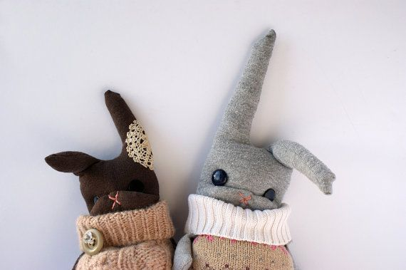 little jumpers: Rabbit, Plushies, Sewing, Jumpers, Bunnies, Fabrics Crafts, Art Dolls, Felt Owl, Kids Toys