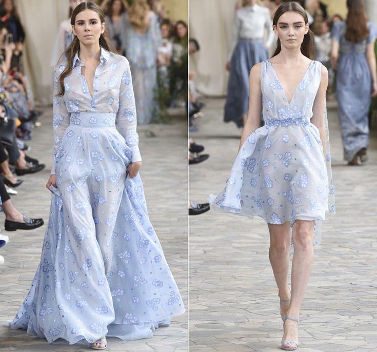 Светло голубые наряды с цветочным узором от Luisa Beccaria Весна-Лето 2017 Ready to wear