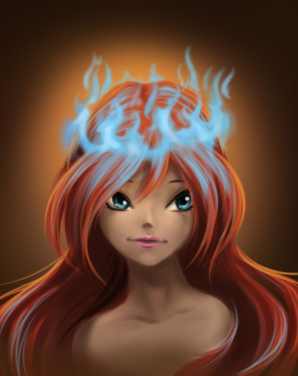 Fan Art of Bloom with fire crown for fans of The Winx Club Fairies.