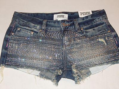 Victorias Secret Rosa Cheeky Corte Pantalones cortos de mezclilla del Rhinestone Brillo Talla 4
