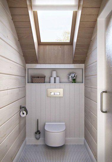 une dco wc chic aux tons naturels et lambris bois - Lambris Chambre Shabby Chic