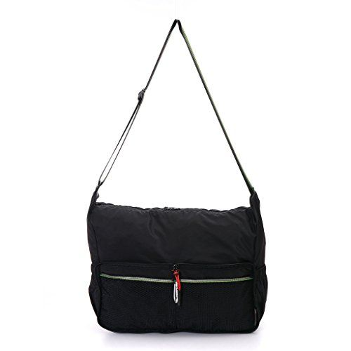 Yinjue Foldable Lightweight Crossbody Bag for Women Men And Kids Shopping Gym Sports and Outdoor Activities Black -- Want to know more, visit