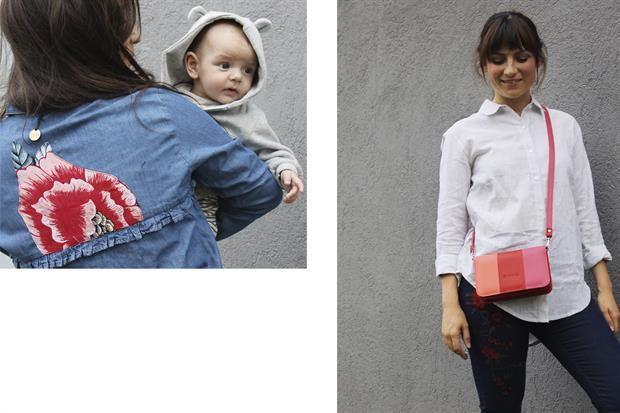 Regalos para Mamá en su día  Camisa de jean con flor en la espalda $1100 de Veive / Camisa rayada $1200 de Vero Forest / Jean bordado $1390 de Rimmel / Cartera $1385 efectivo de Quiéreme Cueros.