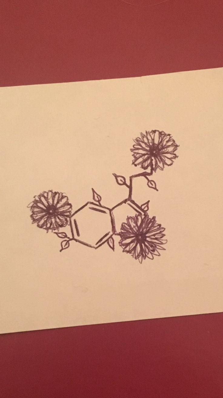 Serotonin tattoo, chemical makeup tattoo, floral tattoo