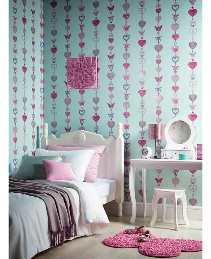 A jewelled hearts themed wallpaper Features hearts, bows and butterflies Non-transferable glitter highlights