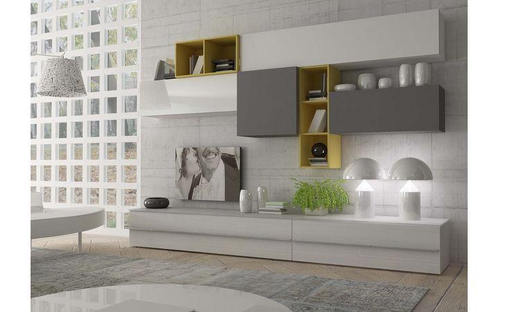 Parete Soggiorno Lugano bianco grigio giallo – Conforama