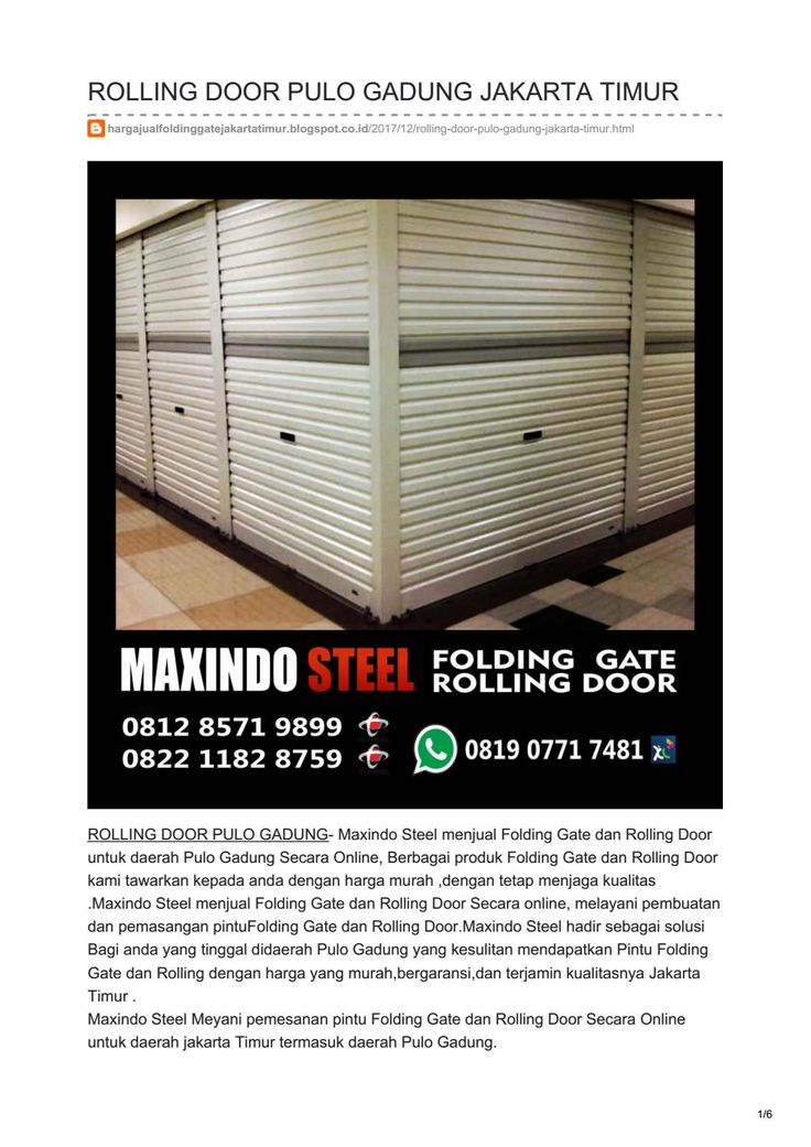 JUAL ROLLING DOOR FOLDING GATE PULO GADUNG TLP 0822 1182 8759