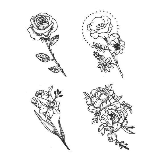 Dainty Flower Set Set Of 4 Temporary Tattoos Temporary