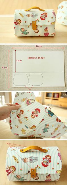 Storage box bag with cover. Pattern & PhotoTutorial http://www.free-tutorial.net/2016/12/storage-box-bag-tutorial.html