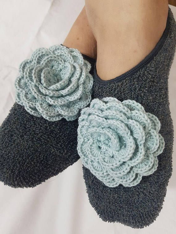 Slipper Socks crochet flowers Womens Slippers  Crochet