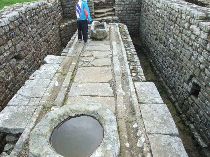 Latrine at Housesteads Roman Fort on Hadrian's Wall -- just like Nigel tells Adrian!