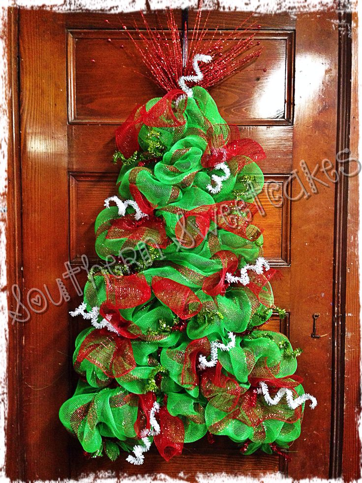 69 best diy christmas tree mesh images on pinterest for How to make christmas door wreaths