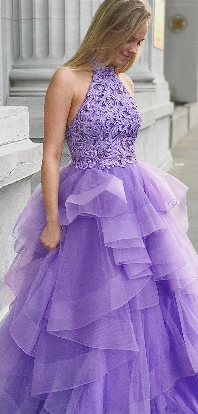 Princess High Neck Lavender Long Sweet 16 Dress Quinceanera Dress Prom Dress Fancy Dresses Tulle Prom Dress Sweet 16 Dresses [ 1350 x 648 Pixel ]