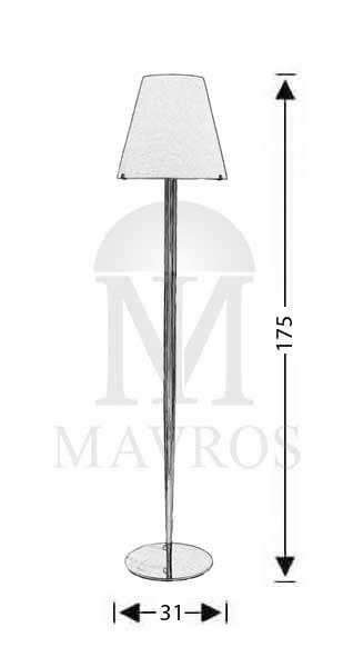 ΜΑΥΡΟΣ -- Μοντέρνο επιδαπέδιο φωτιστικό Μουράνο | ΚΩΝΟΙ