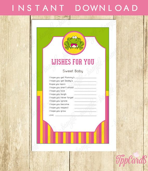 Instant Download Frog Theme Baby Shower Wishes for Baby Cards Printable Frog Wishes for Baby for Girl Wishes for Baby Game Pink Yellow by TppCardS #tppcards