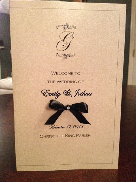 Wedding Ceremony Program Monogrammed with Ribbon Bow. $1.75, via Etsy.