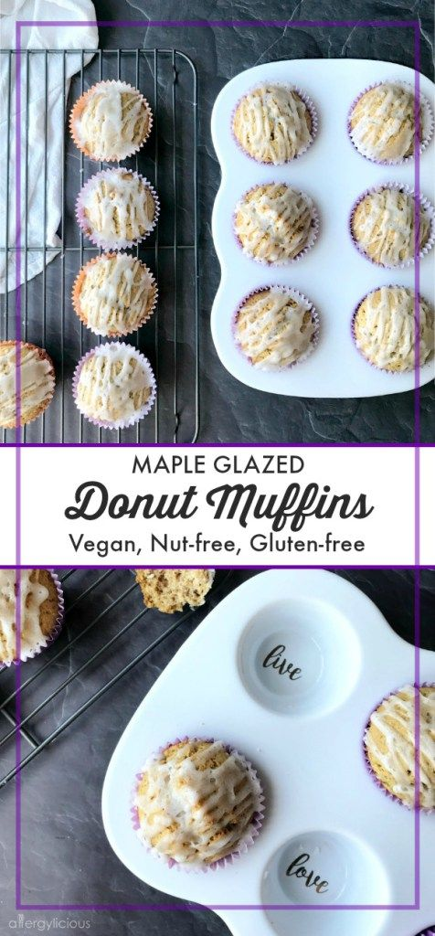 These Maple Glazed Donut Muffins are easy to make, fun to glaze, and have the texture of my favorite cake donut. Vegan Gluten-free, Nut-free