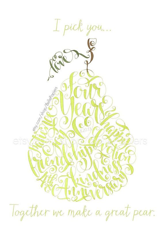 Fourth Anniversary Gift | Fruit & Flowers Anniversary | Perfect Pear | Pear Art | Paper Anniversary Gifts | First Anniversary Gifts | Swarovski Crystals | I Pick You Together We Make A Great Pear | Flowers Anniversary | Fruit Anniversary | Traditional Anniversary Gifts This listing is