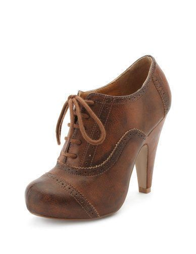 Charlotte Russe - Burnished Oxford Heel from Charlotte Russe. Saved to Cute Finds.