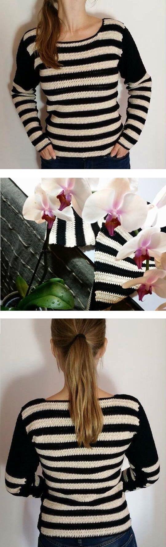 Crochet Pattern for Striped Shirt / Pullover