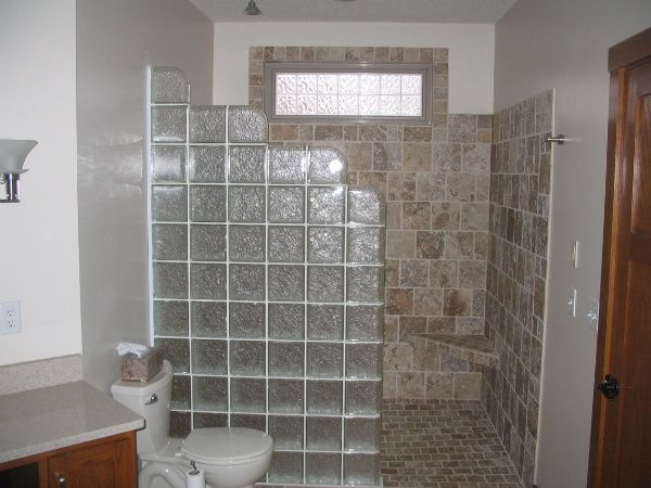 Best 24 bathrooms images on pinterest other - Bathroom glass block wall ...