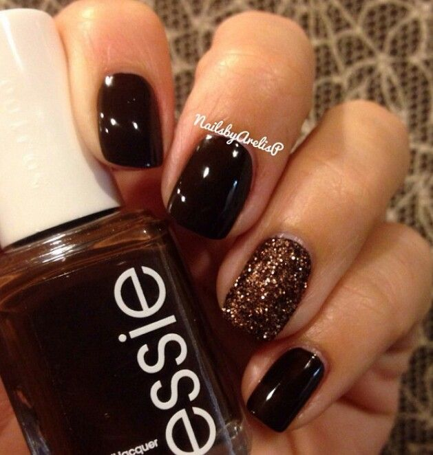 "Essie ""Little Brown Dress"" - Adore this brown-black with a brown glitter combo!"