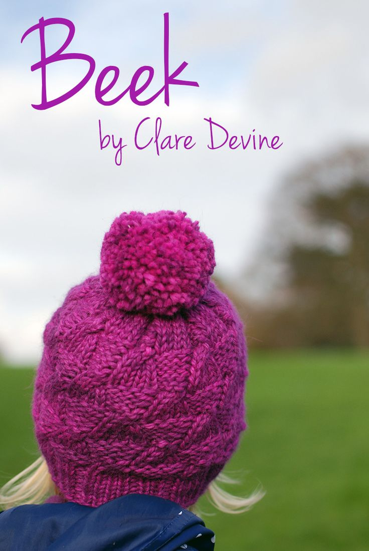 Beek by ClareDevine. The perfect winter warmer. Chunky Hat in five sizes.  www.yarnandpointysticks.com