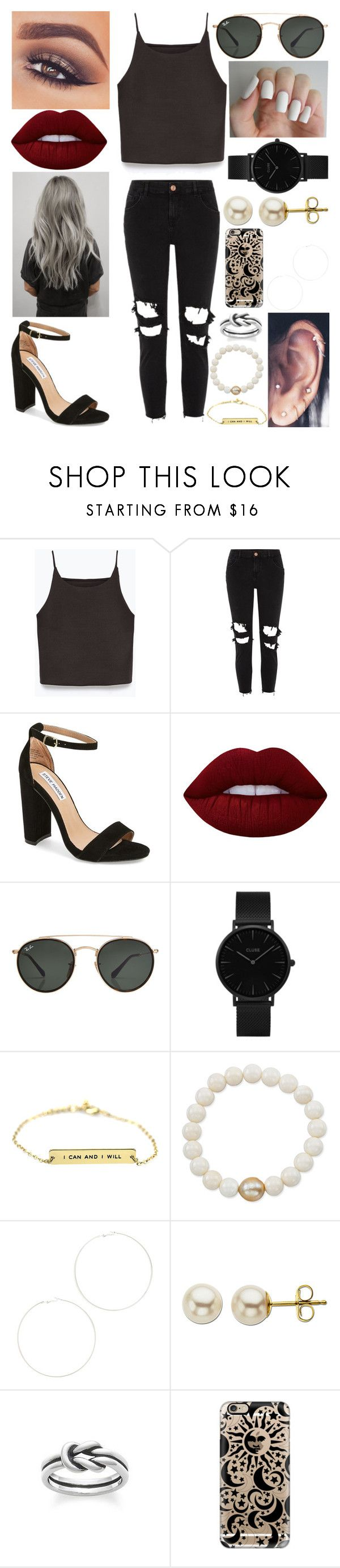 """""""Somewhere in all the confusion💭"""" by xo-arissa-xo ❤ liked on Polyvore featuring Zara, River Island, Steve Madden, Mary Kay, Lime Crime, Ray-Ban, CLUSE, Anne Sisteron, Kenneth Jay Lane and Lord & Taylor"""