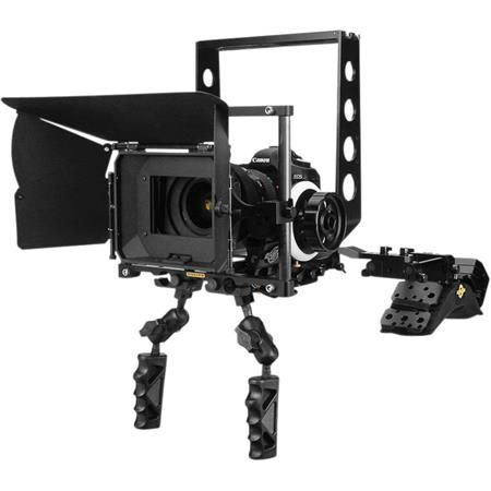 #DSLR Deluxe Package, Includes Shoulder Mount v3, 15mm Durus Follow Focus, Titan Matte Box, Proteus Quick-Release Base Plate System, 15mm Solid Carbon Rails, 2x Articulating Handles, 3x Counterbalance Weights