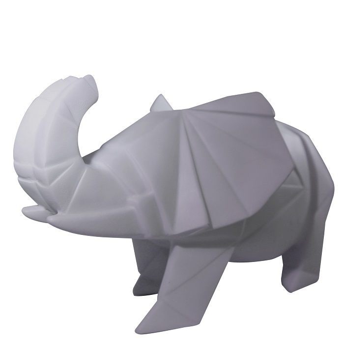 Disaster Designs Grey Origami Elephant Lamp: A fun grey origami style elephant lamp - a perfect addition to any playroom, bedroom or simply displayed on a shelf. Mains powered although as it is lit by an LED it is cool to the touch.