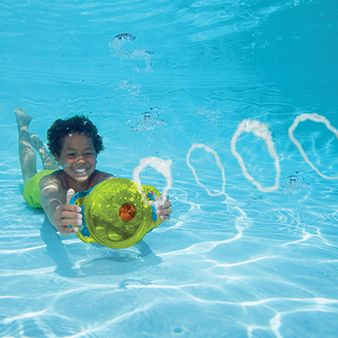 SwimWays Bubble Ring Blaster pool toy makes giant underwater bubbles! This kid-powered pool toy isn't just fun, it's great for practicing underwater swimming skills.