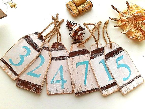 Table Numbers wedding table number Tags Rustic Buoy Ornament Nautical Decorative tags Buoy Decoration
