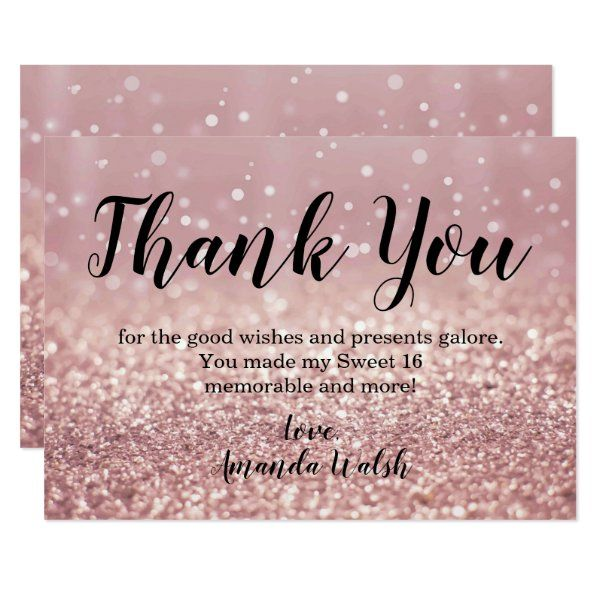 Rose Gold Bokeh Lights Sweet 16 Thank You Note Invitation Zazzle Com In 2021 Gold Bokeh Sweet 16 Invitations Sweet Sixteen Invitations