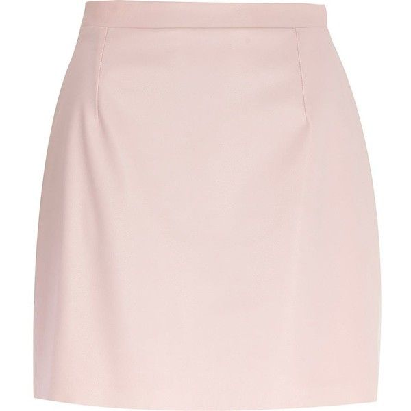 River Island Light pink leather-look A-line skirt (430 MXN) ❤ liked on Polyvore featuring skirts, mini skirts, bottoms, faldas, saias, pink, sale, faux leather a line skirt, short mini skirts and vegan leather skirt