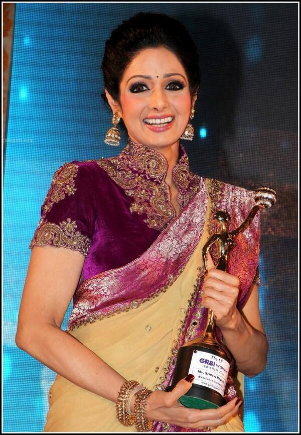 sridevi_in_magenta_velvet_high_neck_blouse