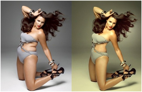 An impressionable viewer might decide she needs liposuction to look as shapely as this photoshopped model.