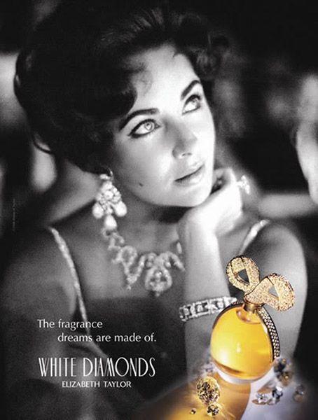 ♥ Elegant and Incomparable Elizabeth Taylor, in Original White Diamonds Perfume Ad ♥