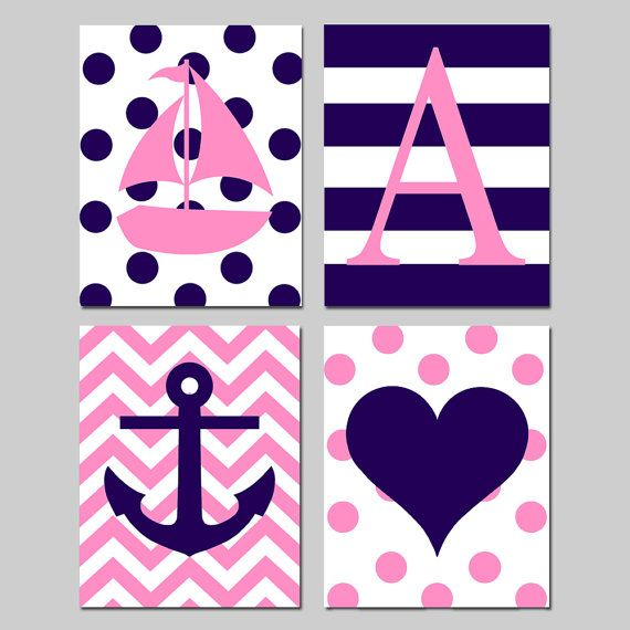 Kids Nautical Art - Set of Four 8x10 Prints - Polka Dot Sailboat, Striped Initial, Chevron Anchor, Polka Dot Heart - Choose Your Colors on Etsy, $65.00