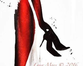 París viajes arte paraguas rojo ilustración acuarela por LanasArt