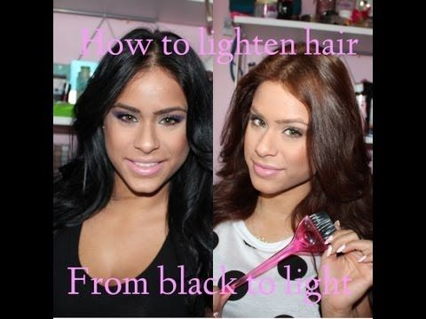 How To Lighten Dark Hair + Hair Care After - YouTube