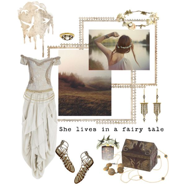 Misty Morning by savagedamsel on Polyvore featuring Rick Owens, Free Lance, Cathy Waterman, eliurpi, fantasy, faeries and whimsy
